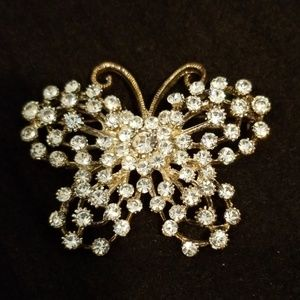 Jewelry - Vintage Studded/Blinged Butterfly Brooch/Pin